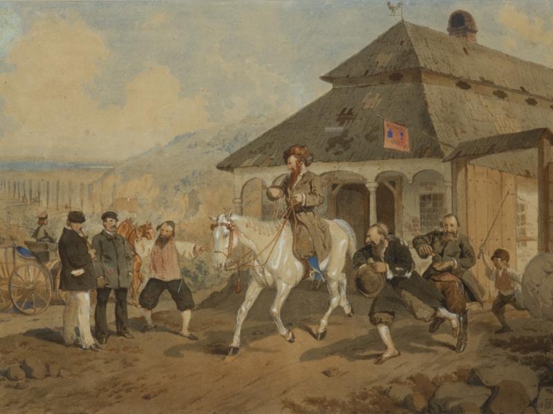 Artur Grottger - Sprzedaż konia w Śledziejowicach, w zbiorach Muzeum Narodowego w Krakowie. Fot. Pracownia Fotograficzna Muzeum Narodowego w Krakowie