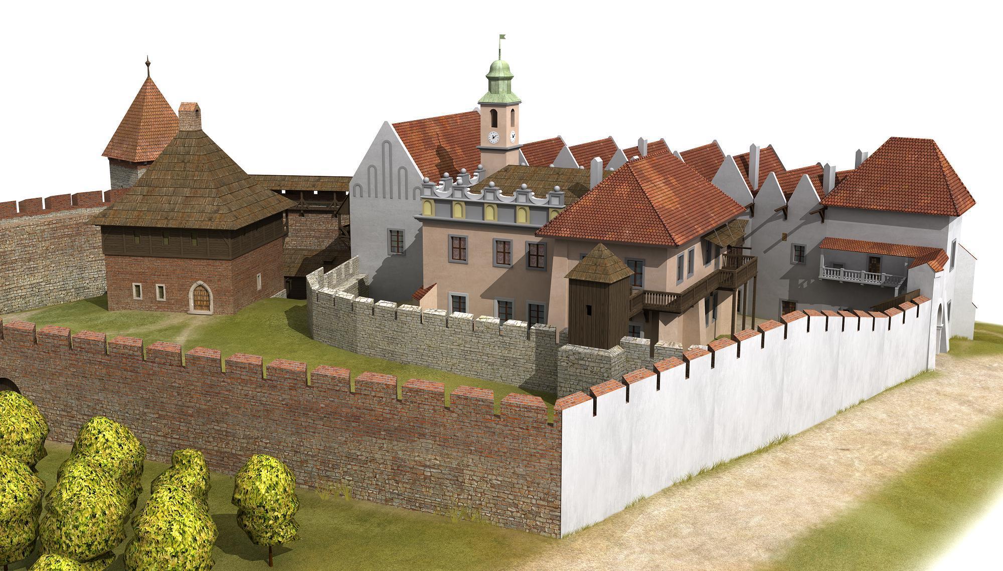 rekonstrukcja, Zamek  Żupny, I poł. XVII w. z nieistniejacą wieżą zegarową i kuchnią żupną